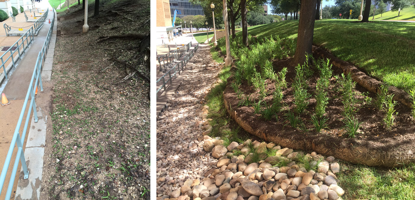 Before (left) and after (right) work completed by the Landscape Services' Design & Installation team at the northeast corner of DKR Texas Memorial Stadium