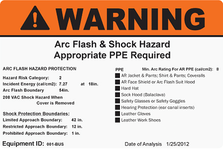 Arch Flash & Shock Hazard appropriate PPE warning label example