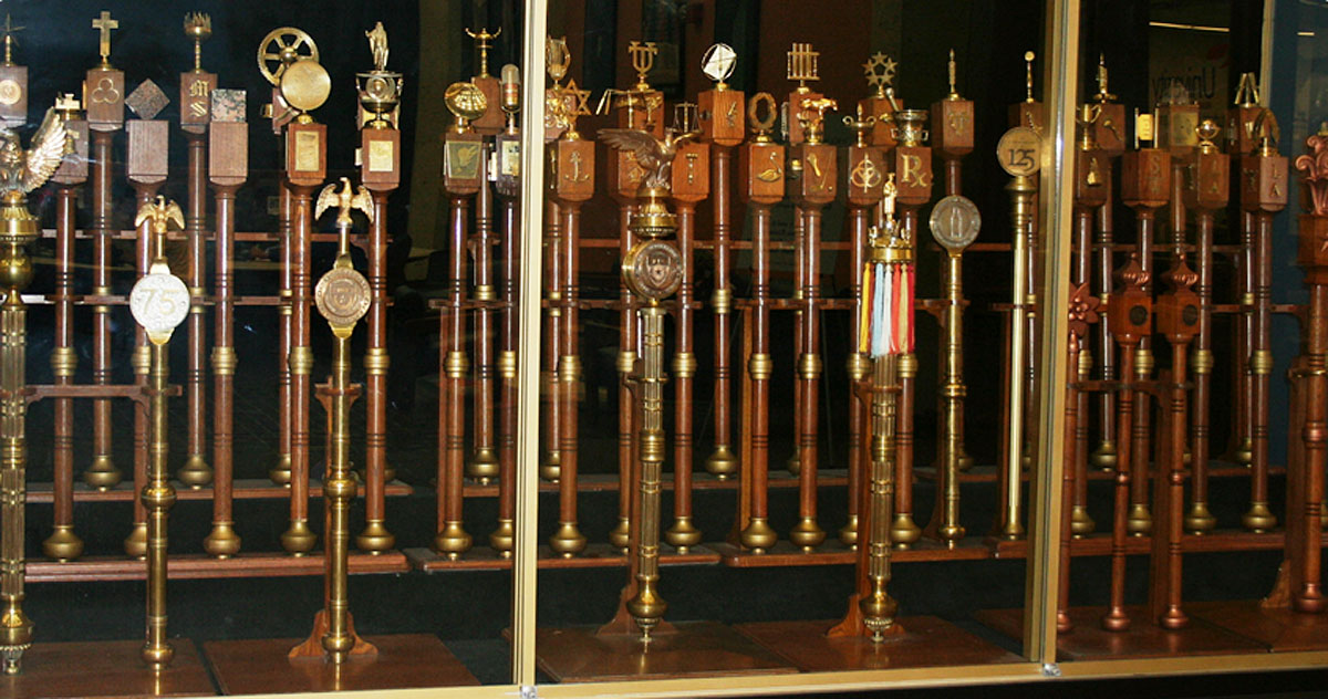 UT maces displayed in cabinet