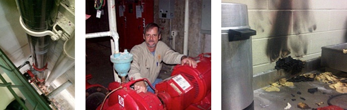 (Left) Fire-life-safety systems (Center) A fire pump (Right) A properly maintained sprinkler system activates, significantly reducing physical damage to the site, and saving lives.