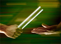 Passing the baton metaphor graphic