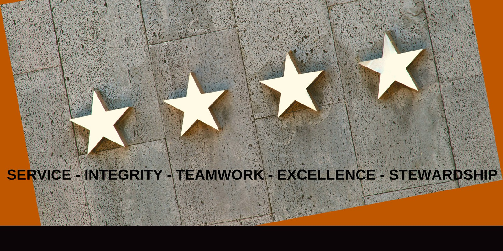 proud to serve graphic with our core values - service, teamwork, integrity, excellence, stewardship