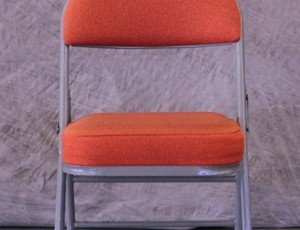 Padded folding orange chair