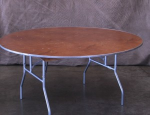 Table, 5ft round wood with metal frame