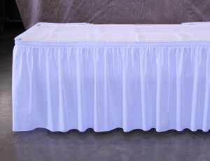 Table, 6ft with ruffled cloth skirting