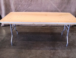 Table, 6ft wood with metal frame