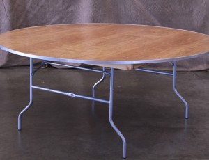 Table, 6ft round wood with metal frame