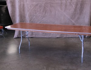 Table, 8ft wood with metal frame