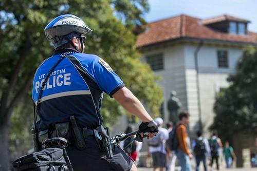 UTPD Bike Patrol Officer on bike in Main Mall
