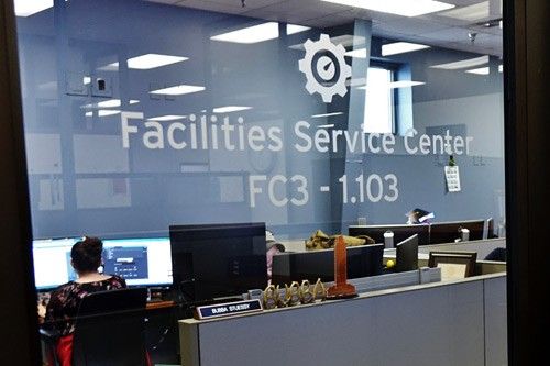 FSC office glass door with FSC logo and text