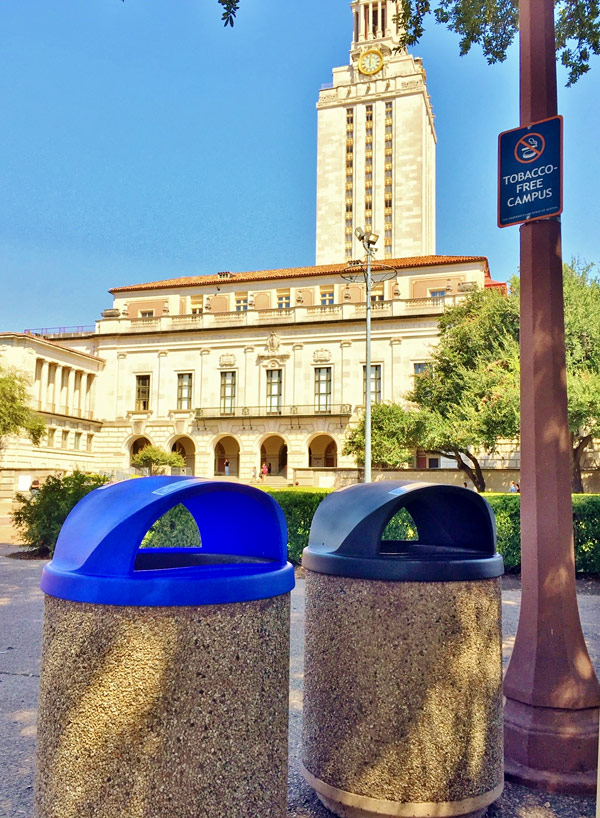 recycling and solid waste cans on campus